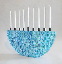 Blue Tapestry Menorah by Richard Parrish (Art Glass Menorah)