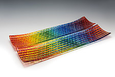 Large Prismatic Tapestry Channel Tray by Richard Parrish (Art Glass Tray)