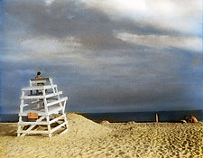 Lifeguard Stand I by Elizabeth Holmes (Infrared, Hand Painted Photograph)