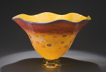 Fluted Daffodil Bowl by Ken Hanson and Ingrid Hanson (Art Glass Bowl)