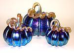 Silver Blue Pumpkin by Ken Hanson and Ingrid Hanson (Art Glass Sculpture)