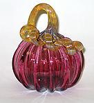 Small Transparent Ruby Pumpkin by Ken Hanson and Ingrid Hanson (Art Glass Sculpture)