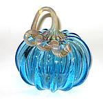 Light Blue Pumpkin by Ken Hanson and Ingrid Hanson (Art Glass Sculpture)