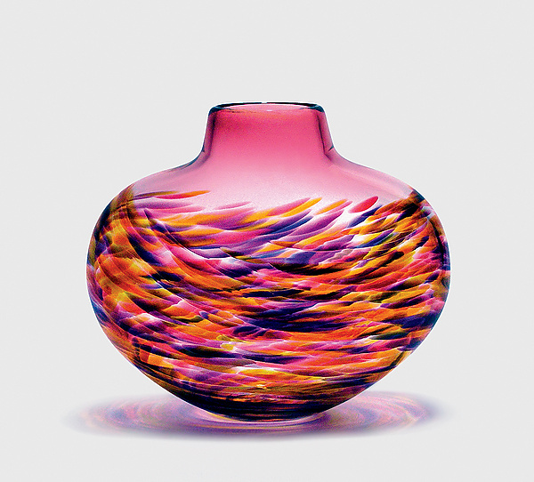 """Low Flat Vortex Vase: Cranberry"""