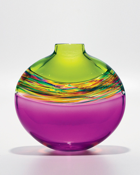 Flat Transparent Banded Vortex Vase in Lime Spring Violet: Michael Trimpol: Art Glass Vase - Artful Home from artfulhome.com