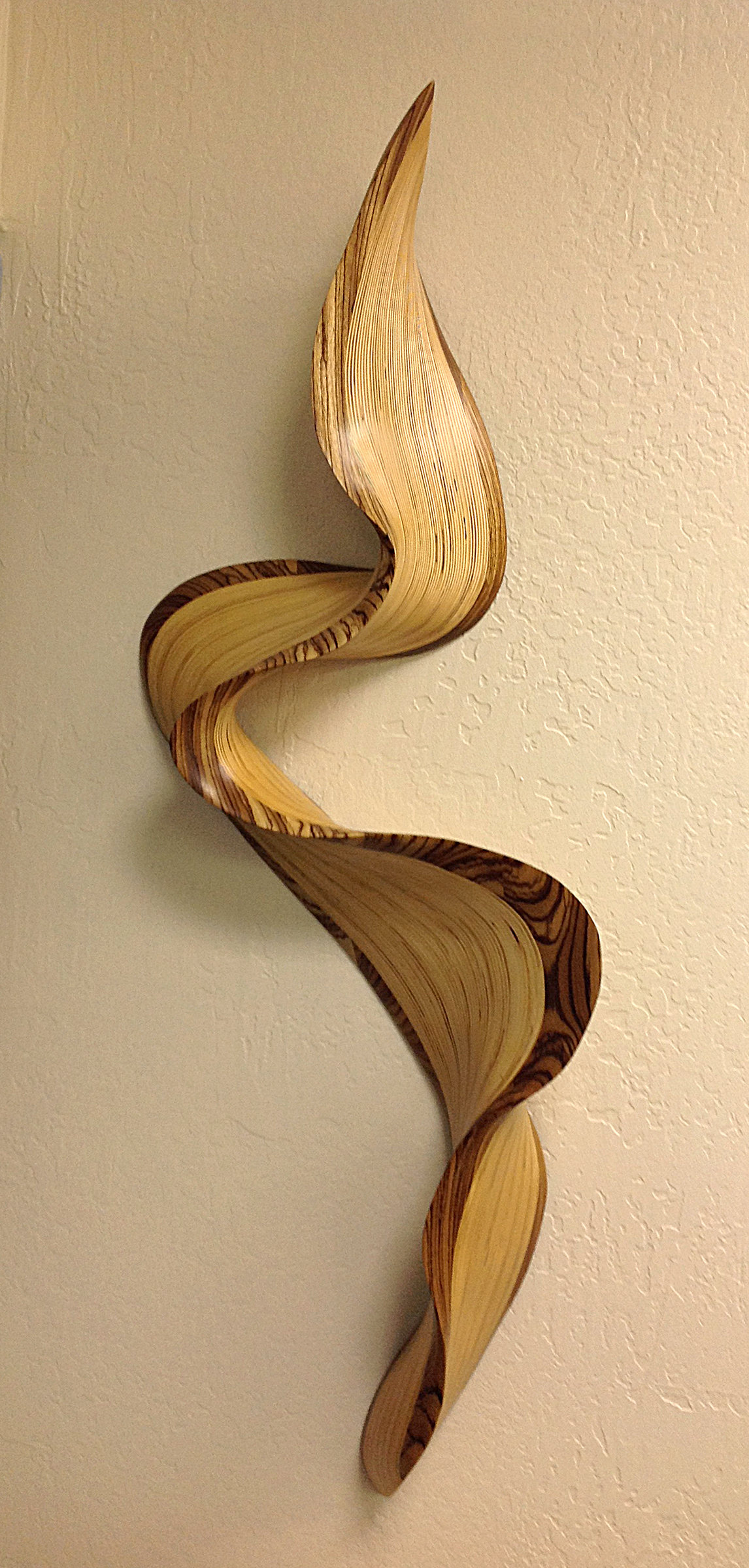 Philadelphia zebrawood wave by kerry vesper wood wall sculpture