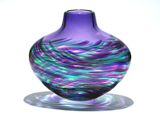 Flattened Vortex Vase: Purple