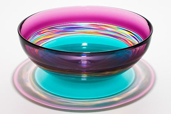 """Transparent Banded Vortex Bowl in Violet Jewel Sea Green"""