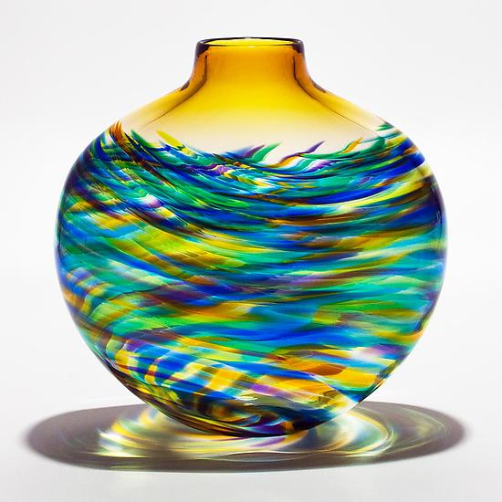 Large Flat Vortex Vase in Peacock with Topaz