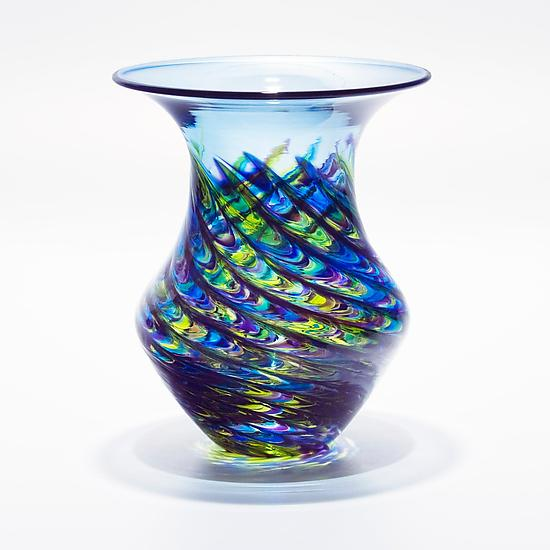 Optic Rib Urn Small Cool Lime with Cerulean