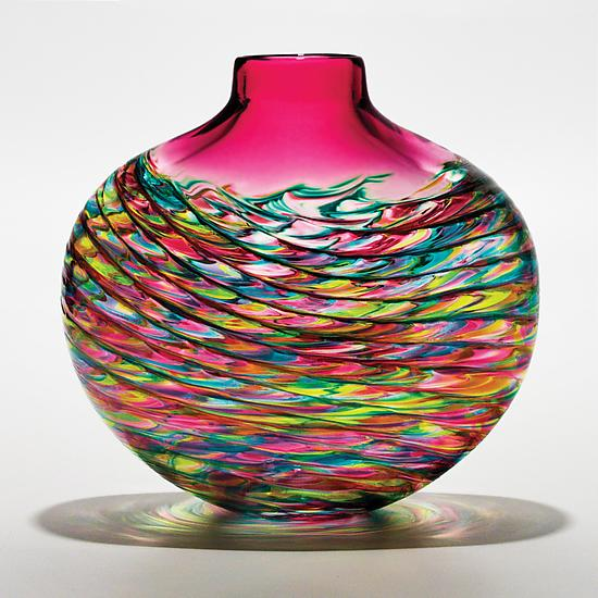 Cranberry Optic Rib Flat Vase