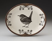 Small Serving Dish: Carolina Wren by Laura Zindel (Ceramic Platter)