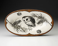 Oblong Serving Dish: Barn Owl by Laura Zindel (Ceramic Platter)