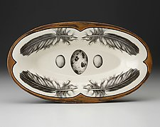 Oblong Serving Dish: Quail Feather by Laura Zindel (Ceramic Platter)
