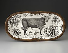 Rectangular Serving Dish: Angus Bull by Laura Zindel (Ceramic Platter)
