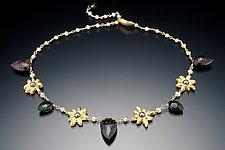 Tourmaline Leaves with Golden Flower Links by Kathleen Lynagh (Gold, Silver, & Stone Necklace)