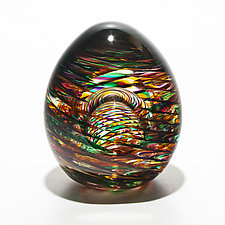 Optic Rib Paperweight with Facet in Candy by Michael Trimpol and Monique LaJeunesse (Art Glass Paperweight)