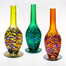 Optic Rib Bottle Vase by Michael Trimpol and Monique LaJeunesse (Art Glass Vase)