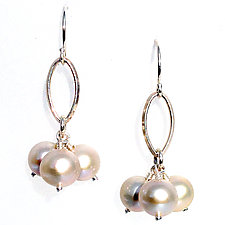 Marque Sterling Silver Drops with Pearls by Kathleen Lynagh (Silver & Stone Earrings)