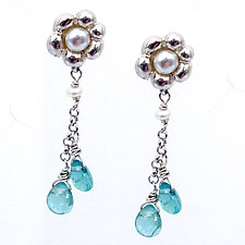 Small Flower Drops with Apatite Gems by Kathleen Lynagh (Silver & Stone Earrings)