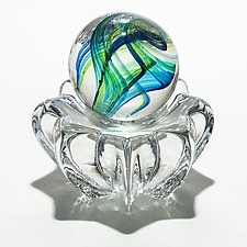 Marble in Ocean on Star Dish by Michael Trimpol and Monique LaJeunesse (Art Glass Paperweight)