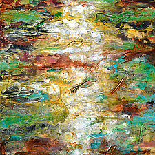 Aquifer Strata - Green by Stephen Yates (Acrylic Painting)