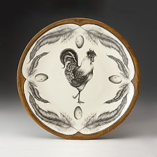 Rooster Large Round Platter by Laura Zindel (Ceramic Platter)