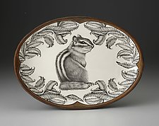 Small Oval Platter: Chipmunk #3 by Laura Zindel (Ceramic Platter)