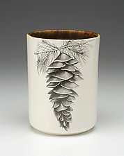 Utensil Cup: White Pine Cone by Laura Zindel (Ceramic Vessel)