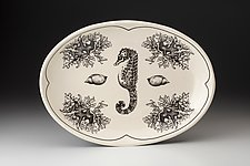 Small Oval Platter: Sea Horse by Laura Zindel (Ceramic Platter)
