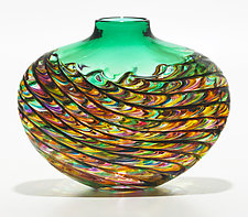 Optic Rib Flat Low Vase in Candy with Emerald by Michael Trimpol and Monique LaJeunesse (Art Glass Vase)