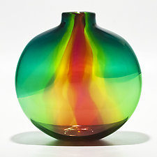 Transparent Ribbon Vase in Lagoon, Lime & Cranberry by Michael Trimpol and Monique LaJeunesse (Art Glass Vase)