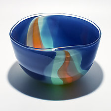 Opaque Ribbon Bowl in Steel Celedon & Salmon by Michael Trimpol and Monique LaJeunesse (Art Glass Bowl)