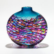 Aquamarine & Violet Optic Rib Vase by Michael Trimpol and Monique LaJeunesse (Art Glass Vase)