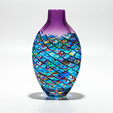 Optic Rib Flat Tall in Blue Multi with Violet by Michael Trimpol and Monique LaJeunesse (Art Glass Vessel)