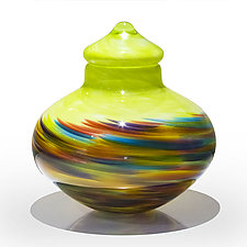 Low Lidded Vase in Lime Mix on Lime by Michael Trimpol and Monique LaJeunesse (Art Glass Vessel)
