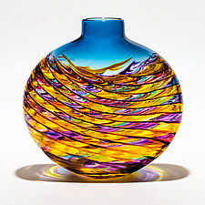 Optic Rib Helix Small Flat in Violet Multi & Yellow with Aquamarine by Michael Trimpol and Monique LaJeunesse (Art Glass Vase)