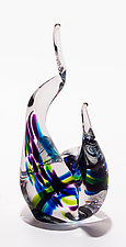 Glass Flames in Cool Lime by Michael Trimpol and Monique LaJeunesse (Art Glass Sculpture)