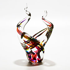 Glass Flames in Lime Mix by Michael Trimpol and Monique LaJeunesse (Art Glass Sculpture)