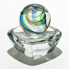 Marble in Tiffany on Square Dish by Michael Trimpol and Monique LaJeunesse (Art Glass Paperweight)