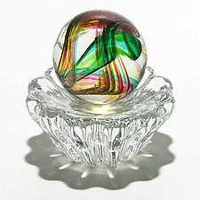 Marble in Spring on 12 Rib Twist Dish by Michael Trimpol and Monique LaJeunesse (Art Glass Paperweight)
