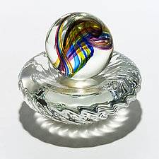 Marble in Lime Mix on Twisted Dish by Michael Trimpol and Monique LaJeunesse (Art Glass Paperweight)