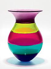 Color Block Vase in Jewel by Michael Trimpol and Monique LaJeunesse (Art Glass Vase)