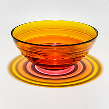 Five-Banded Bowl in Warm Colors by Michael Trimpol and Monique LaJeunesse (Art Glass Bowl)