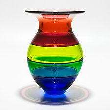 Color Block Vase in Green Envy by Michael Trimpol and Monique LaJeunesse (Art Glass Vase)