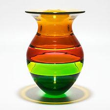 Color Block Vase in Spring by Michael Trimpol and Monique LaJeunesse (Art Glass Vase)