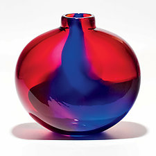 Transparent Ribbon Vase in Salmon, Cranberry & Cerulean by Michael Trimpol and Monique LaJeunesse (Art Glass Vase)