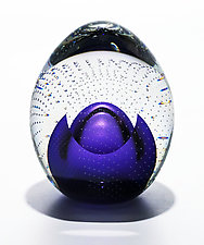 Bubble Weight and Facet in Grape by Michael Trimpol and Monique LaJeunesse (Art Glass Paperweight)