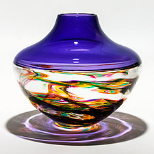 Optic Rib Helix Banded Low Urn in Jewel with Grape by Michael Trimpol and Monique LaJeunesse (Art Glass Vase)