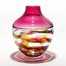 Optic Rib Helix Banded Urn by Michael Trimpol and Monique LaJeunesse (Art Glass Bowl)